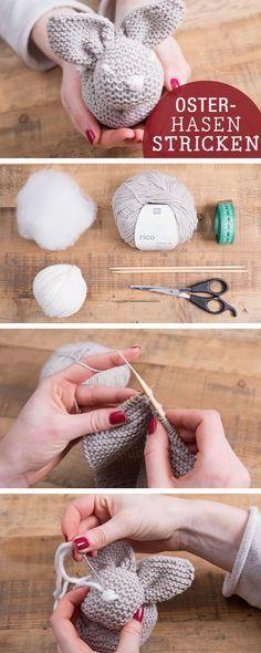 DIY-Anleitung: Osterhase stricken, Osterdeko / diy tutorial: how to knit an…