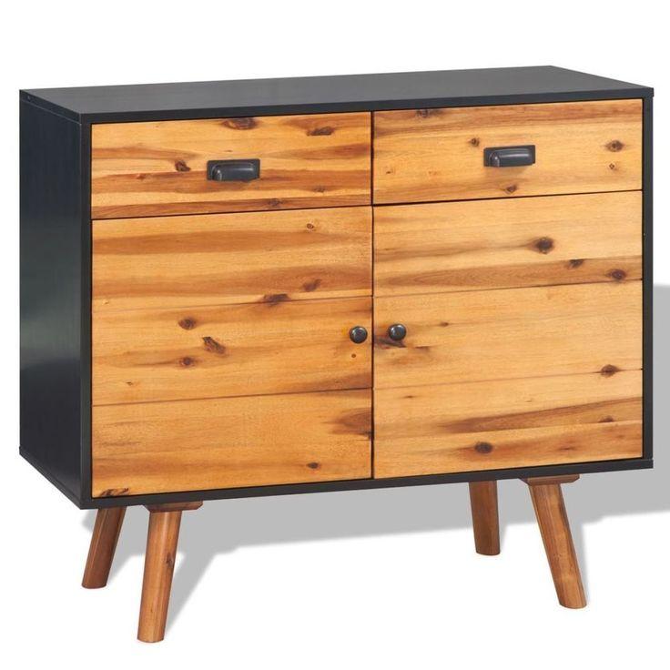 Modern Wooden Sideboard Industrial Cupboard Acacia Wood Cabinet Storage Unit
