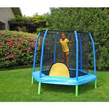 Enclosed Trampoline For Kids Mini Bazoongi 7.5' Hexagonal Combo Steel Outdoor