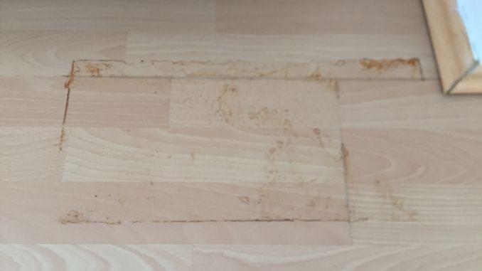Ganz einfach lassen sich Rostflecken auf dem Laminatboden mit Grill- und Backofenreiniger entfernen.