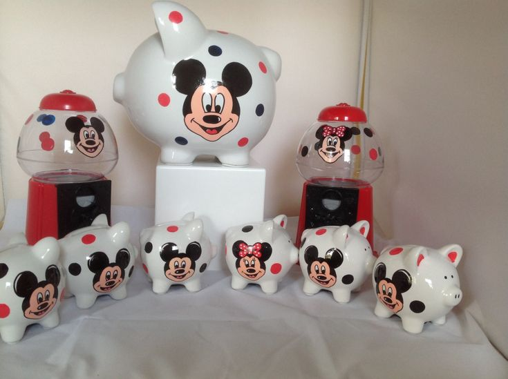 Personalized Disney  Mickey Minnie Mouse  party favor large gumball machine, birthday parties, baby showers centerpiece- Gumballs included by KUTEKUSTOMKREATIONS on Etsy