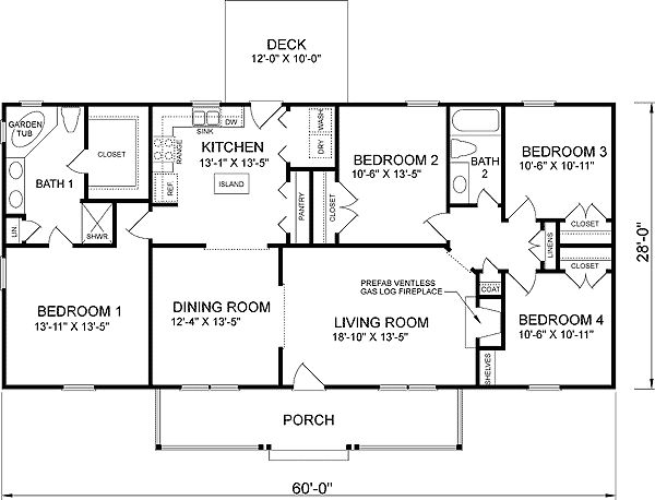 4-Bedroom Ranch House Plans | Plan W26205SD: Traditional, Ranch House Plans & Home Designs