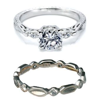 Brides Magazine: How to Pick a Wedding Band That Works With Your Engagement Ring// Vintage-inspired rings often feature filigree, engraving, and other intricate decorations. Give your ring pairing a cohesive feel by selecting a band that highlights a favorite design element from your engagement ring, like engraved flowers.  --> Love the top ring, bottom notsomuch.