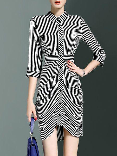 3/4 Sleeve Casual Printed Sheath Stripes Asymmetric Shirt Dress