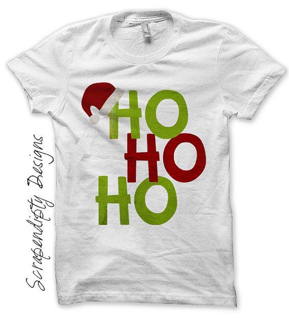 Santa Iron on Transfer - Iron on Ho Ho Ho Shirt PDF / Boy Christmas Shirt / Toddler Santa Clothing / Kids Christmas Clothes / Print by ScrapendipityDesigns, $2.50