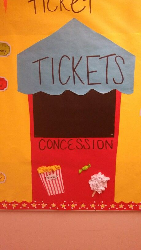 Ticket booth on bulletin board for beginning of school-carnival theme.