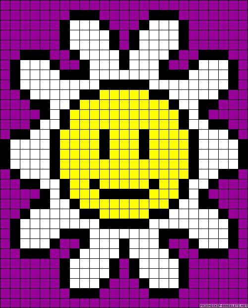 Smiley flower perler bead pattern