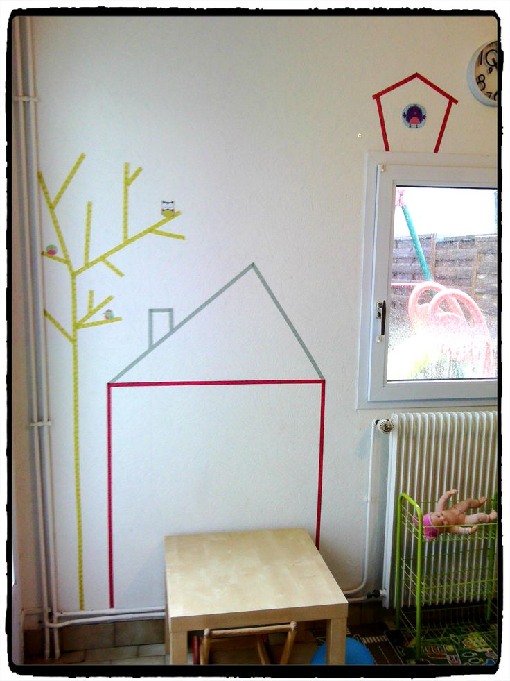 d corer ses murs avec du masking tape d co enfant chambre d 39 enfant pinterest tapas deco. Black Bedroom Furniture Sets. Home Design Ideas