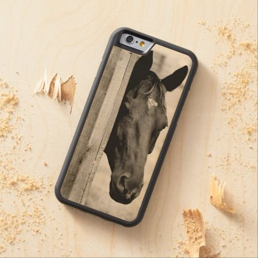 Equestrian themed WOODEN Iphone 6 case. Has a pretty black horse head on it perfect for anyone who loves horses and ponies from hunter jumper riders to dressage trainers.