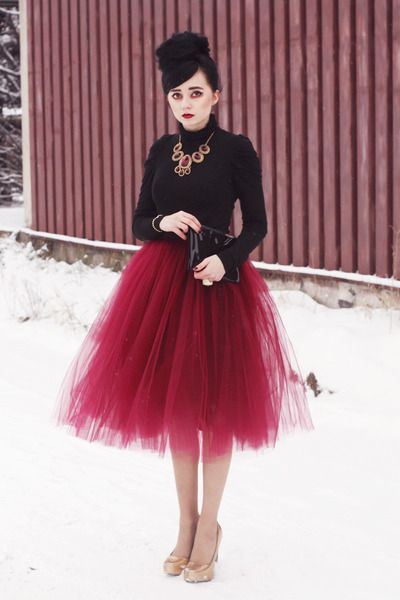 wine red tulle skirt