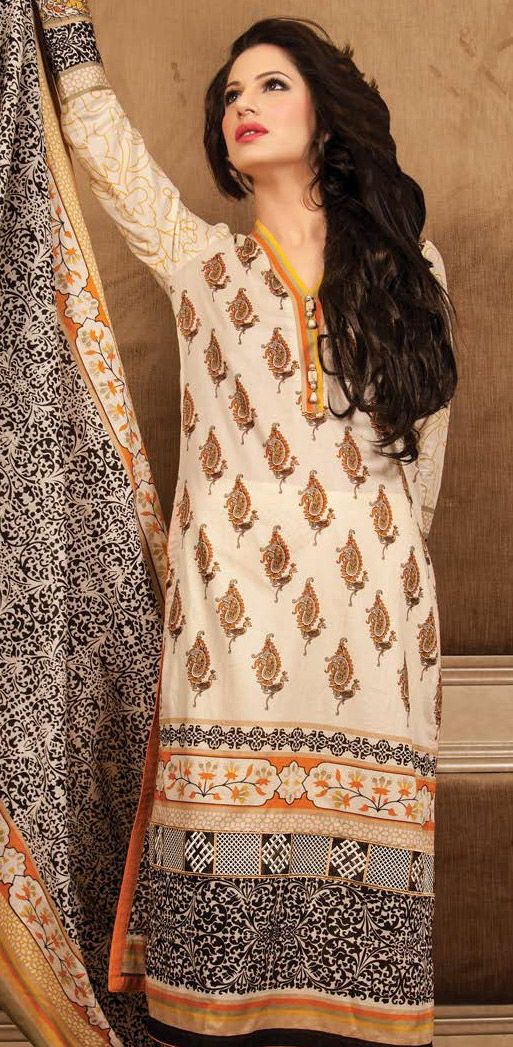 Beige Embroidered Cotton Lawn Salwar Kameez Dress $106.99 DESIGNER LAWN 2014 Pakistani Indian Dresses Online, Men Women Clothing and Shoes | PakRobe.com