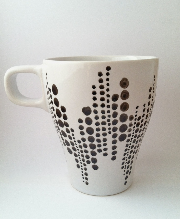 Hand-painted Coffee Mug - Black & White dots Simple to paint but looks awesome
