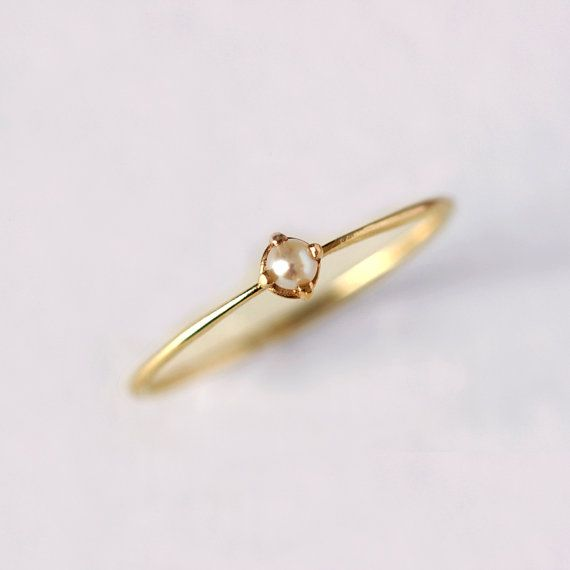 Gold Pearl Ring  Thin Gold Ring  14 Solid Gold by artemer on Etsy, $165.00