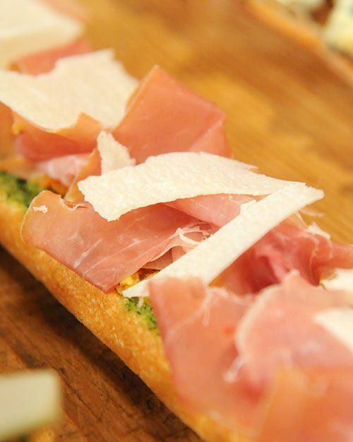 Open-Faced Baguette with Prosciutto and Green Olive Tapenade | Recipe