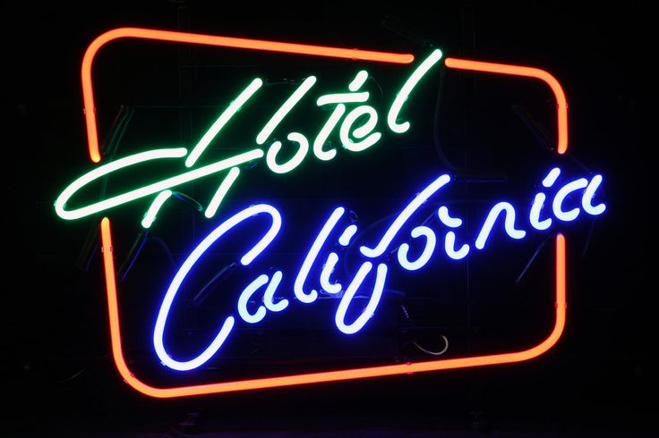 Hotel california neon sign google zoeken mancave for Hotel california