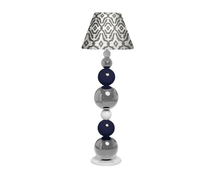 Drewniana, toczona lampa podłogowa malowana na wysoki połysk. Możliwa modyfikacja: kolorów (paleta RAL) oraz tkaniny abażuru. // This monumental wooden lamp will be a jewel in your home! Regardless of where you put it- the best design will decorate every room. Excellent handmade work combined with sophisticated design and high quality materials create absolute perfection. You can choose the colour of the balls and fabric of the lampshade.