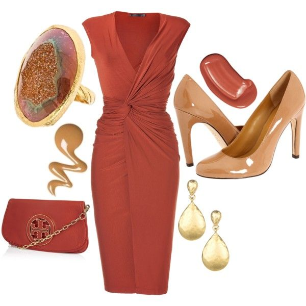 Donna Karan Burnt Orange Dress,Love the combo- burnt orange and tan/gold