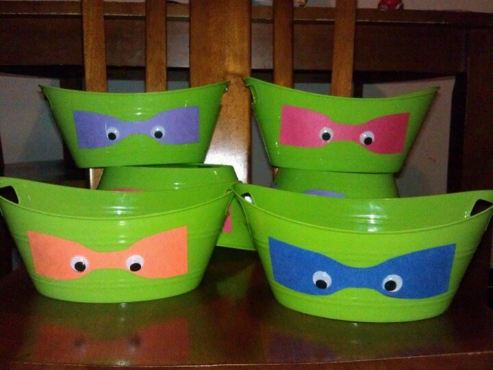 Tmnt buckets for my daughters birthday party