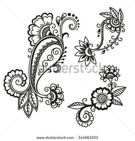 Henna Tattoo Flower Template Mehndi Stock Vector Henna Mehndi