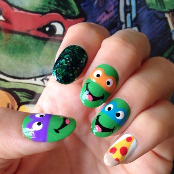 """1,617 Likes, 32 Comments - steph stone (@stephstonenails) on Instagram: """"Someone tagged me in national turtle day- so here's some ninja turtle nails - I love made up…"""""""