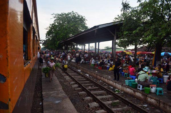 Things to do in Yangon: Market on Yangon Circle Line
