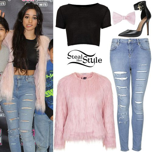 Fifth Harmony Meet & Greet at 99.7. February 4th, 2015 - photo: 5h-photos Camila Cabello posed with her bandmates and fans at 99.7 All The Hits wearing a Skinny Rib Crop Tee ($16.00 – available in white), the Fluffy Faux Fur Jacket (Sold Out) and Moto Salt and Pepper Jamie Jeans ($85.00) all from Topshop, with an American Apparel Bow Hair Clip ($10.00) and a pair of Aldo Astfeld High Heels ($90.00).