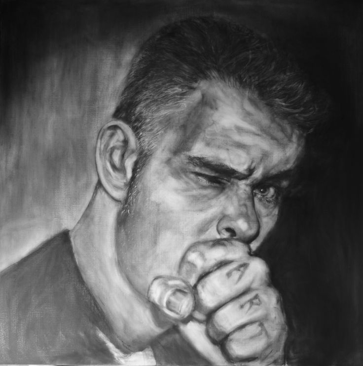 man of letters and art - portrait of Neil Buddle -  Katherne Claypole charcoal on board 2014