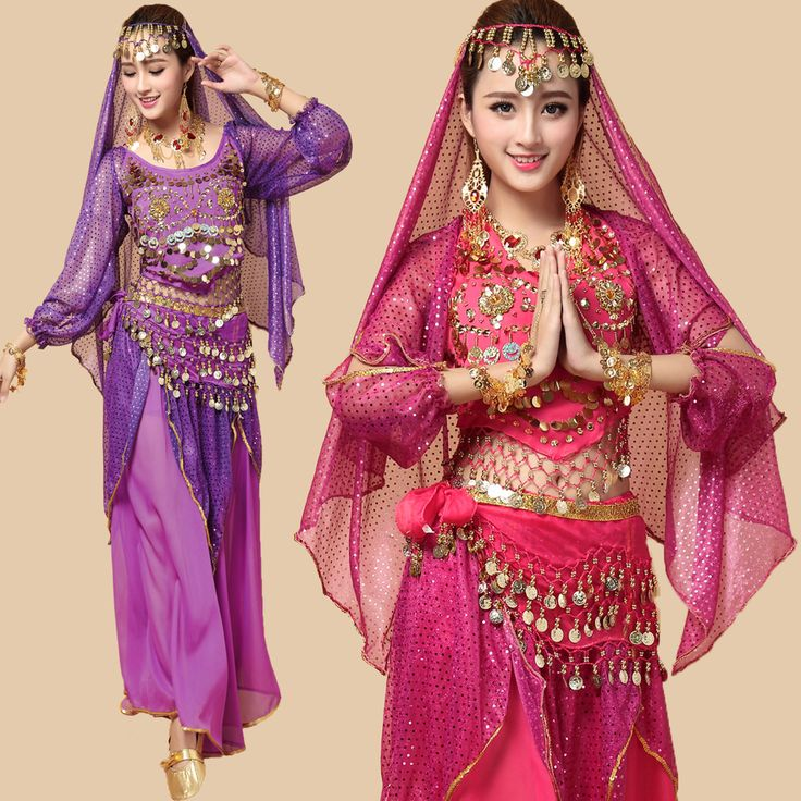 4 STKS Hele Set NIEUWE Stijl Buikdans Kostuums Bollywood Indiase Jurk India Lange Mouwen Vrouwen Kleding Dancewear(China (Mainland))