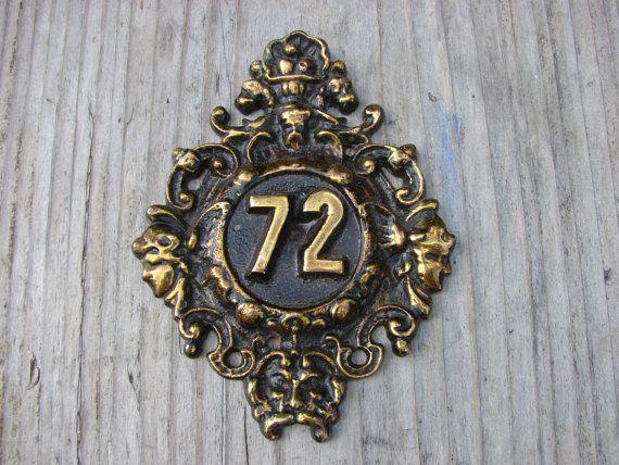 Vintage solid brass or Bronze Door number decor with Angels / home decor /  assemblage / metal art / photography / antique style number plate - 30 Best Door Numbers Images On Pinterest Door Numbers, House