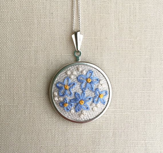 Embroidered Daisy Forget Me Not Necklace Embroidery Blue Daisy Jewelry Flower Pendant or Brooch