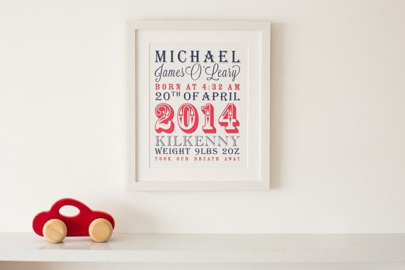 Circus Baby Boyl Personalised Print (Mounted) 10 x 12 inch