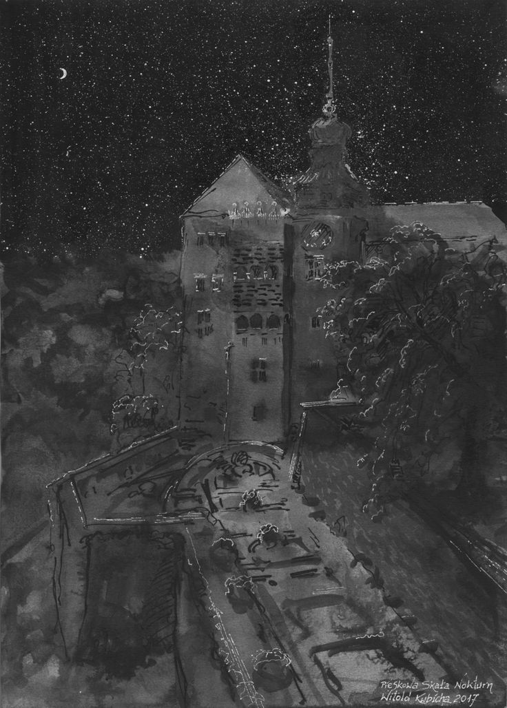 Castle in Pieskowa Skala at night. Ink. Auhor: Witold Kubicha