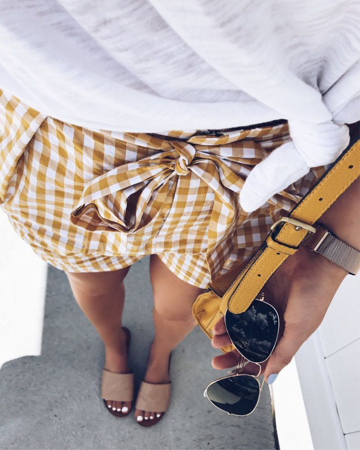 #summer #outfits White Tee + Yellow Gingham Short + Nude Sandals // Shop This Outfit In The Link #Yellow