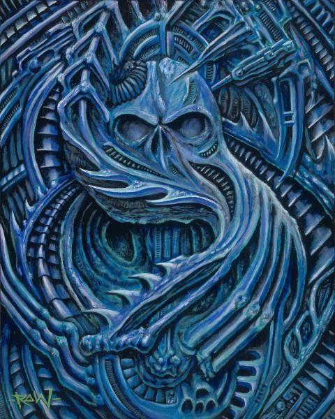 Blue Bio by Roman Technology Alien Skull Tattoo Canvas Art Print – moodswingsonthenet