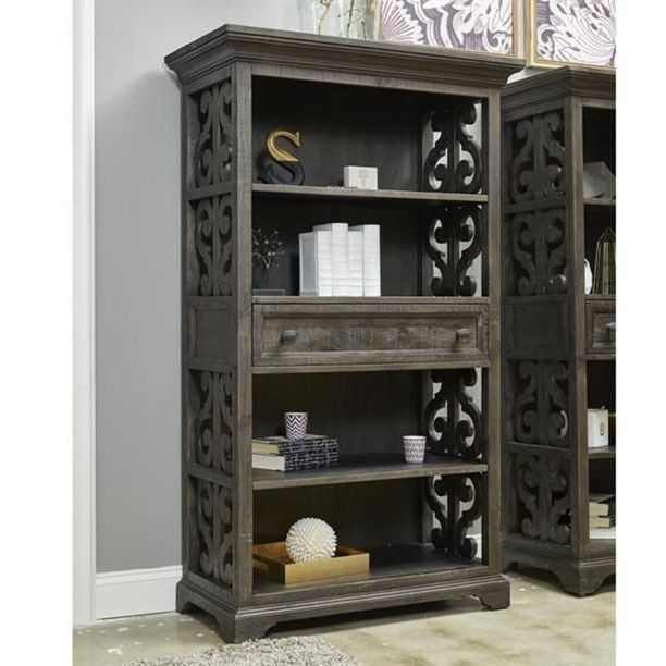 New deep weathered pine bookcase, with matching office, entertainment center and tables available at RC Willey. Does it fit your style?  #Furniture #Style #HomeFurnishings