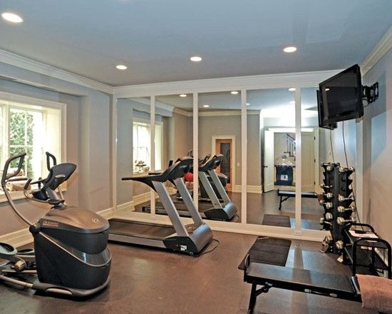 Decorating, Traditional Home Gym With Mirrored Wall Also Modern Gym Equipments Also Modern Ceiling Lights Also Black Lat Screen Tv And Brown Wall Color: Beautiful and Simple Mirrored Walls