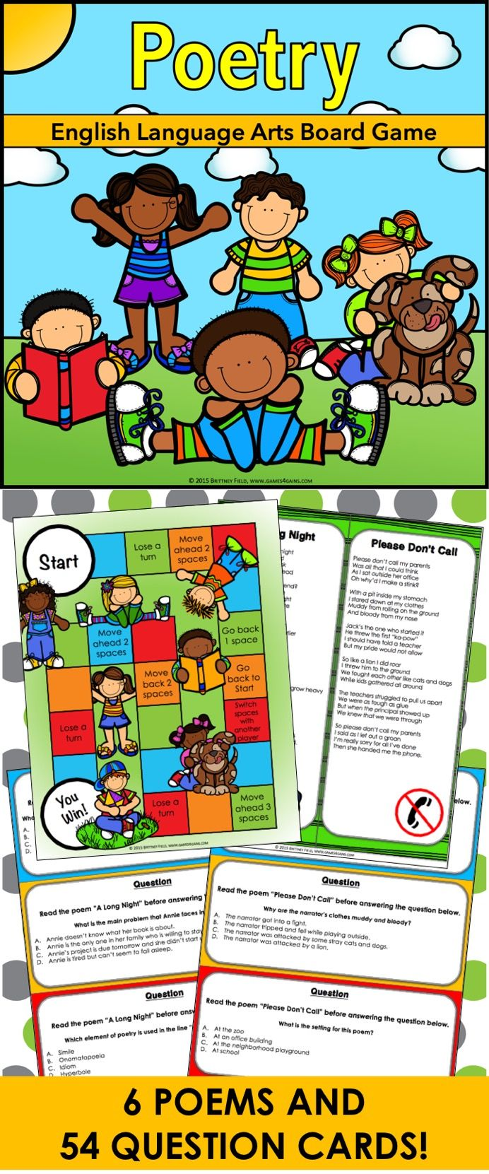 Poetry: Poetry Board Game contains 6 original poems, 54 poetry comprehension game cards, and a game board to help students practice comprehending. This poetry game works great as a pair/group activity, or for use in literacy centers.