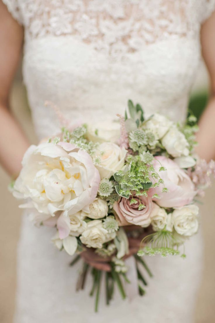 Vintage Pink & White Bridal Bouquet | Lace Wedding Dress | Classic Wedding | Images by Marianne Taylor Photography | http://www.rockmywedding.co.uk/james-katie/