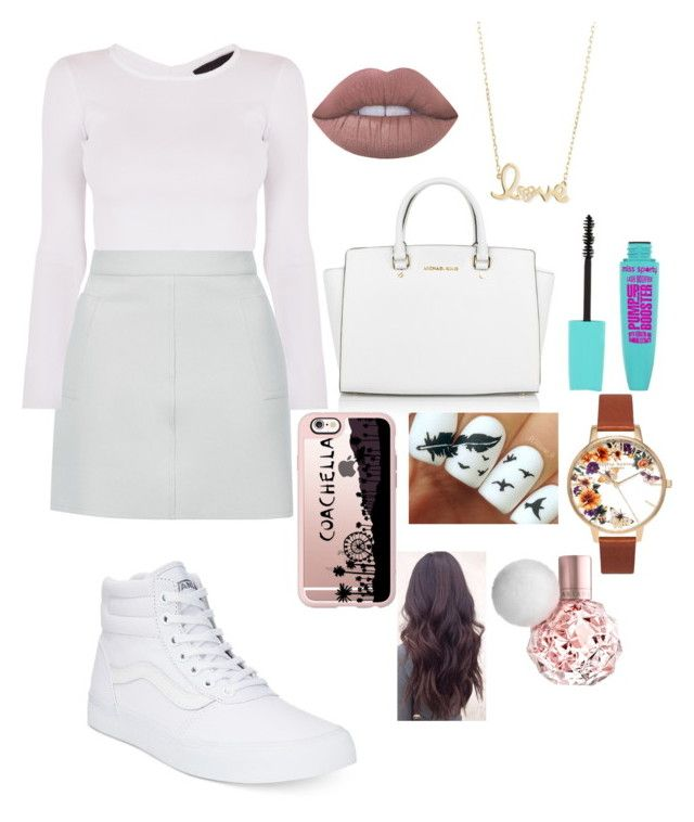 """""""Friday School Outfit xxxx"""" by eviewilkinson2002 on Polyvore featuring Topshop, Vans, Michael Kors, Casetify, Lime Crime and Sydney Evan"""