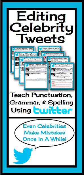 This resource allows students to edit grammar, spelling, and punctuation in a fun and modern way! Students will have the chance to read some of their favorite celebrities' tweets to find errors, correct them, and give reasons for their corrections!