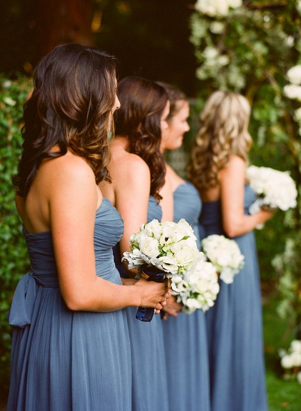 Long Strapless Blue Chiffon Bridesmaids Dresses