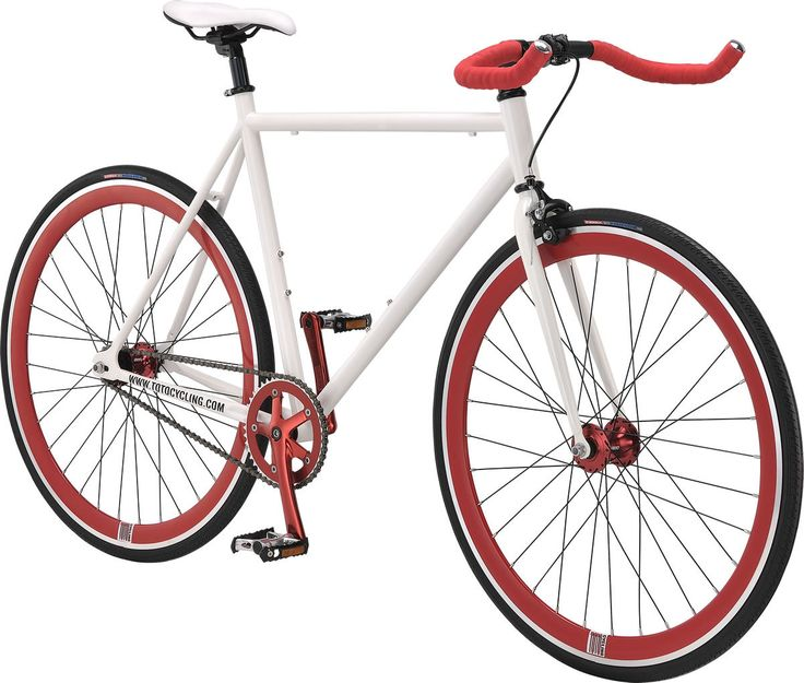 Tomcat UNO PRO Fixed Gear / Single Speed Road Bike - White Frame & Red Rims T.T Bar