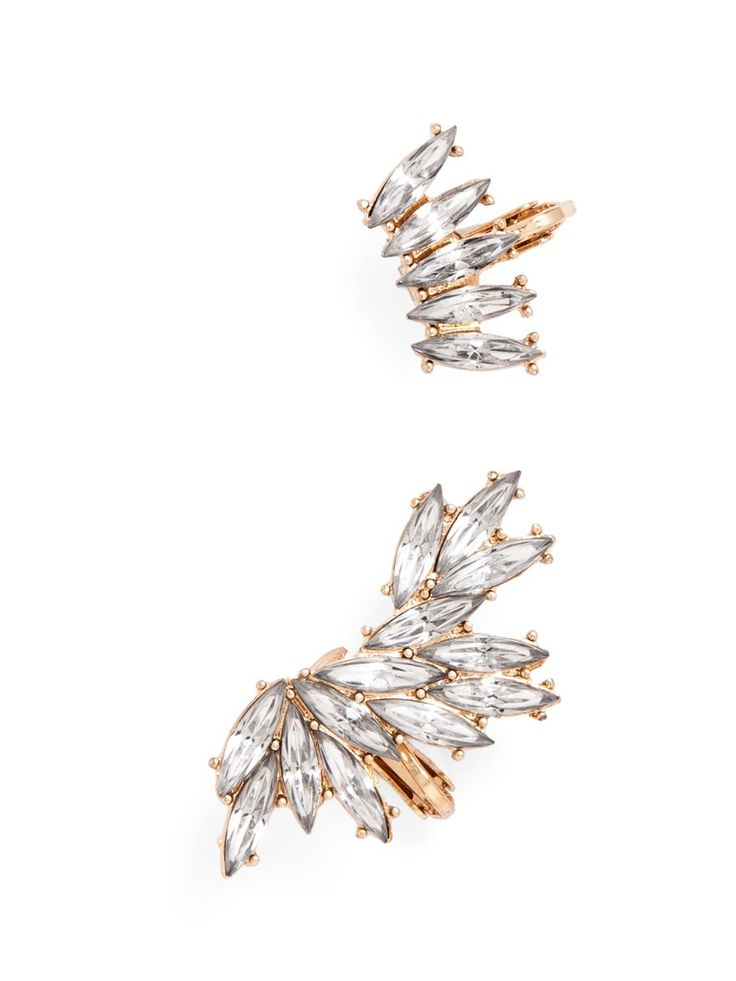 Clip on this two-piece ear cuff for a double dose of attitude: Crafted from delicate marquise-cut crystals, this style is a soft way to rock the latest ear cuff trend.