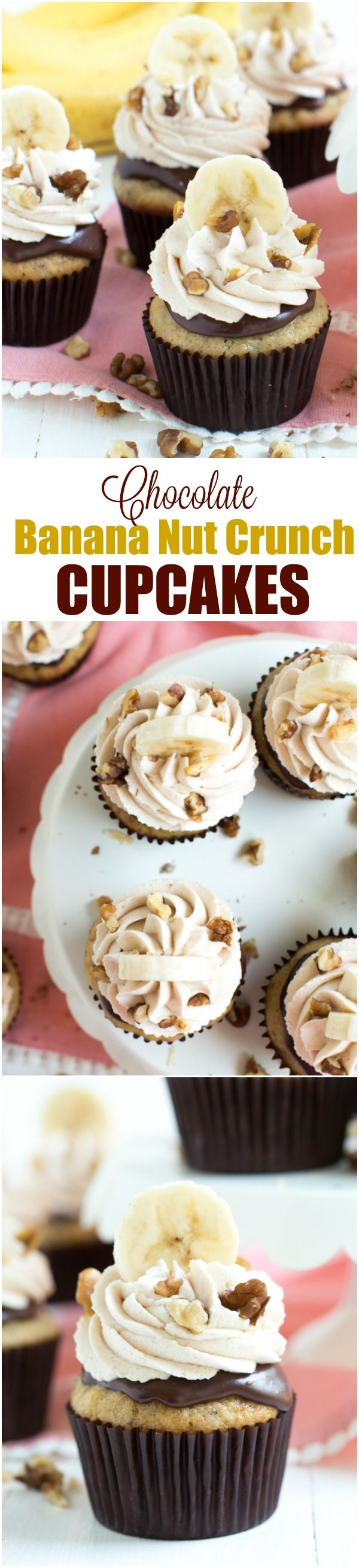 Chocolate Banana Nut Cupcakes are made with a banana nut cake, chocolate ganache and topped with vanilla cinnamon frosting. @easy