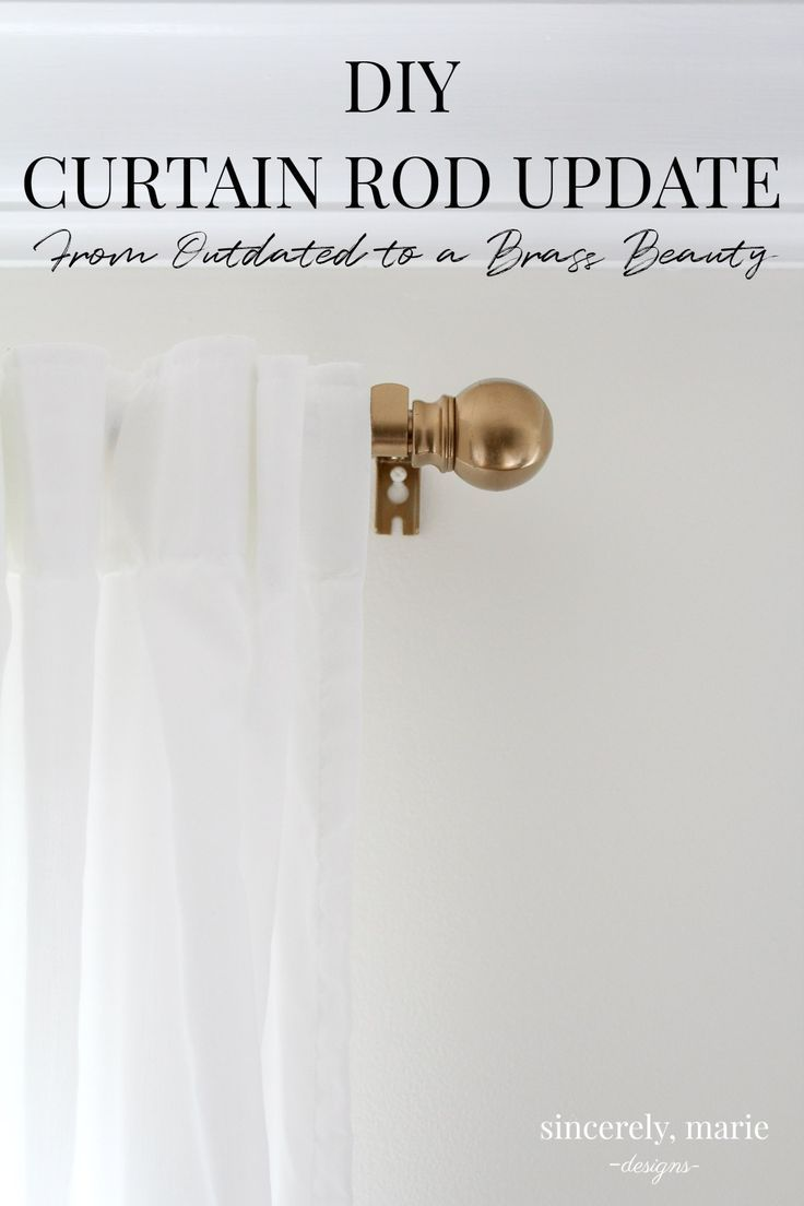 An Easy Curtain Rod Update From Outdated To A Brass Beauty Simple Curtains Diy Curtain Rods Shower Curtain Rods