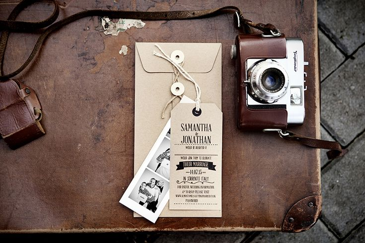 Luggage Tag Invites with Photo Booth Strip and Kraft Envelope £4 www.emmydesigns.co.uk