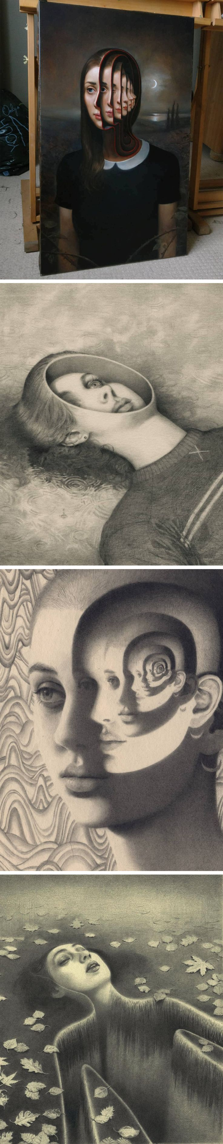 New Mesmerizing Oil and Graphite Portraits That Peer Into the Subject's Inner Mind by Miles Johnston