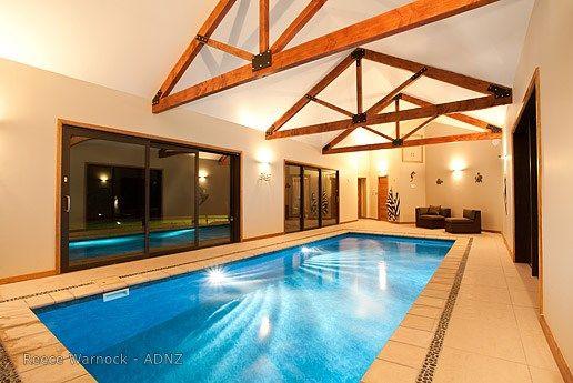 Indoor pool designed by Reece Warnock.  #adnz #indoorpool #lappool