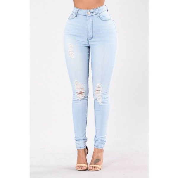 On A Wave Jeans Light Blue ($20) ❤ liked on Polyvore featuring jeans, ripped skinny jeans, ripped jeans, skinny jeans, white high waisted jeans and high-waisted jeans