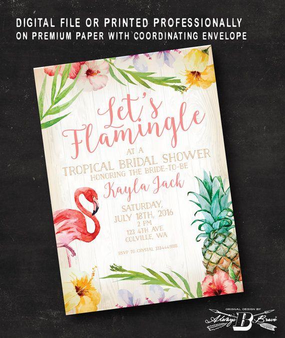 Tropical Bridal Shower Invitation  Flamingo Bridal by AlwaysBBrave